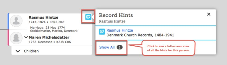 A screenshot of record hints on the family tree.