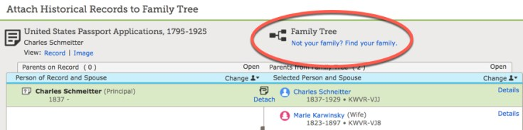 """Screenshot of """"Not your family? Find your family?"""""""