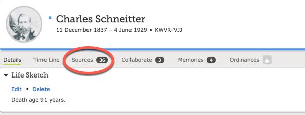 Screenshot of sources tab