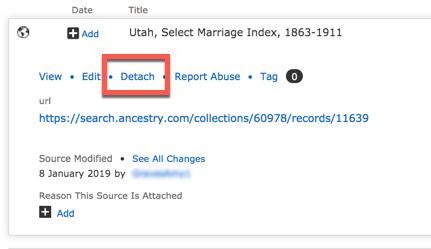 Screenshot of detach record option