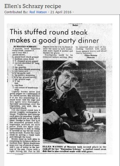 Sample pie crust recipe on FamilySearch.org memories