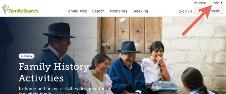 Screenshot of FamilySearch.org showing Help button in top right.