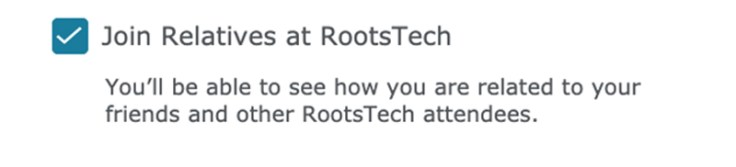 join relatives at rootstech checkmark.