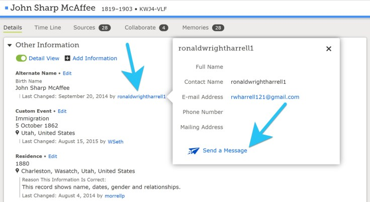 A screenshot showing how to send a message.