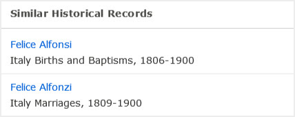 Screenshot of similar historical records tool on FamilySearch.org.