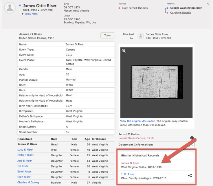 Screenshot of record details from FamilySearch.