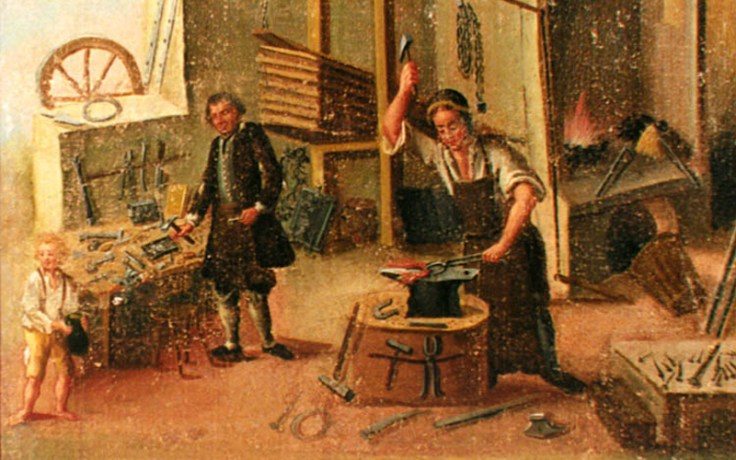 a smith working at a forge.