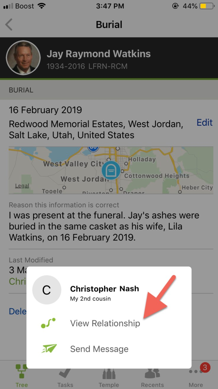 Screenshot of view relationship button on FamilySearch Family Tree app.