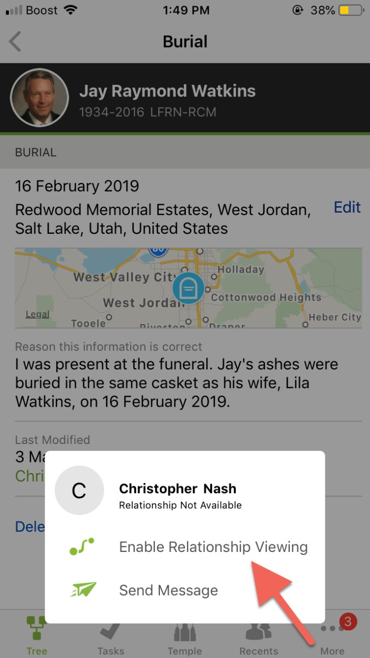 Screenshot showing how to enable view relationship on FamilySearch.