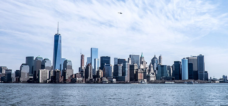 Boat's view of the New York City skyline.