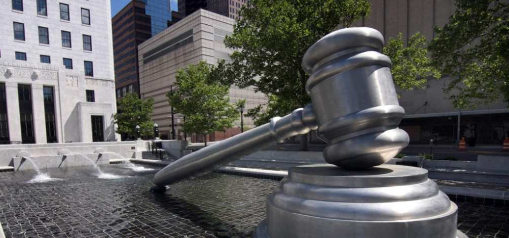 The giant gavel of justice at the Ohio Judicial Center in downtown Columbus, Ohio.