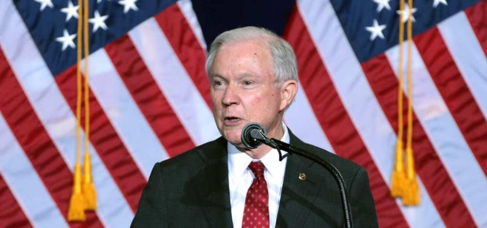 U.S. Attorney General Jeff Sessions speaks to a crowd of GOP supporters during a Trump rally in 2016.