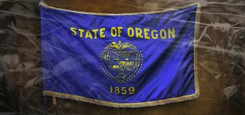 The Oregon state flag, a blue flag with the state's golden seal embroidered on it.