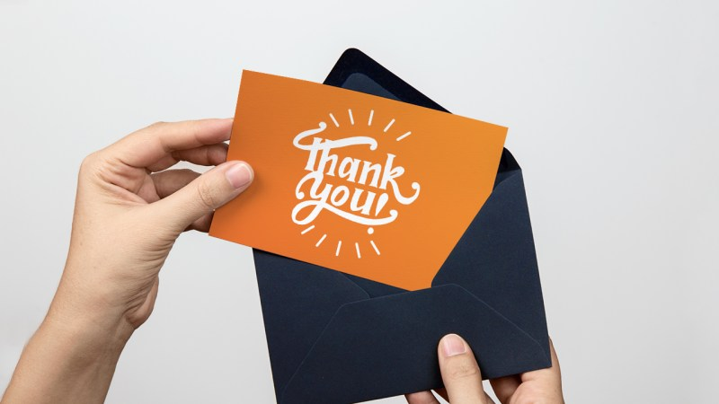 Envelope and thank you card