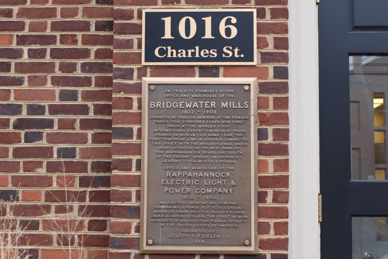 Pictured is the Bridgewater Mills plaque set on the building located on the original site