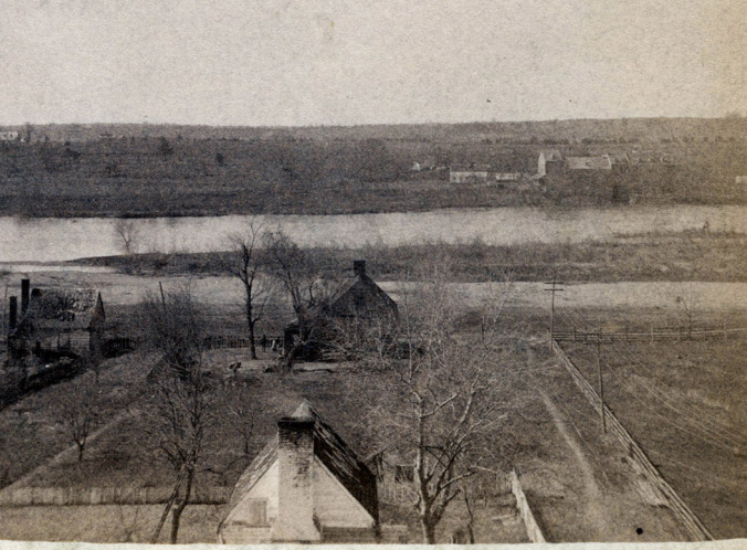 In this picture one can see Bridgewater Mills in the upper-right hand. The view of the Mills is from the Falmouth side of the Rappahannock.