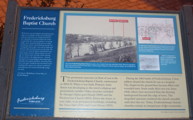 Pictured here is the Fredericksburg Baptist Church state Marker