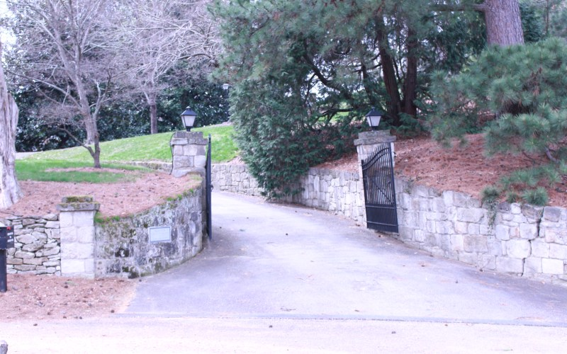 pictured here is the stone gate at the entrance to Brompton's driveway