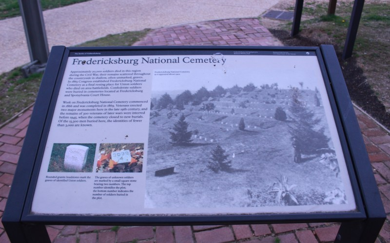 Pictured is Fredericksburg National Cemetery Historical Marker