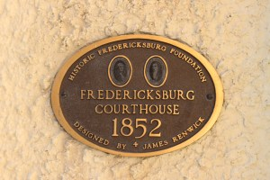 Pictured here is the Fredericksburg Courthouse building marker