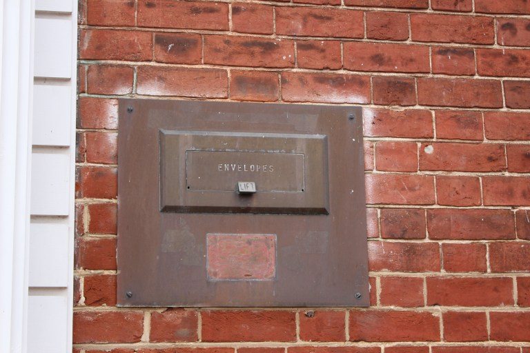 Pictured here is the envelope drop-box for the National Bank of Fredericksburg