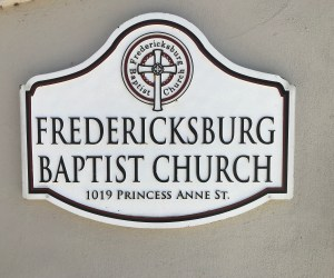Picture of the Fredericksburg Baptist Church Sign on the outside of the Church