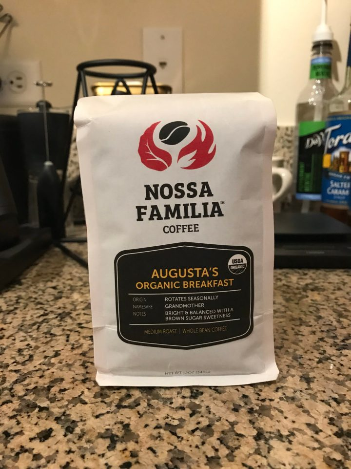 Photo of a bag of Nossa Familia Coffee's Agusta's Organic Breakfast.