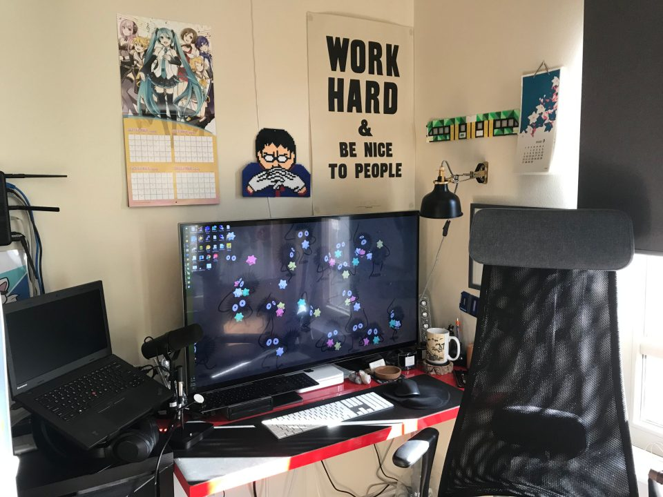 Photo of a work from home desk setup.