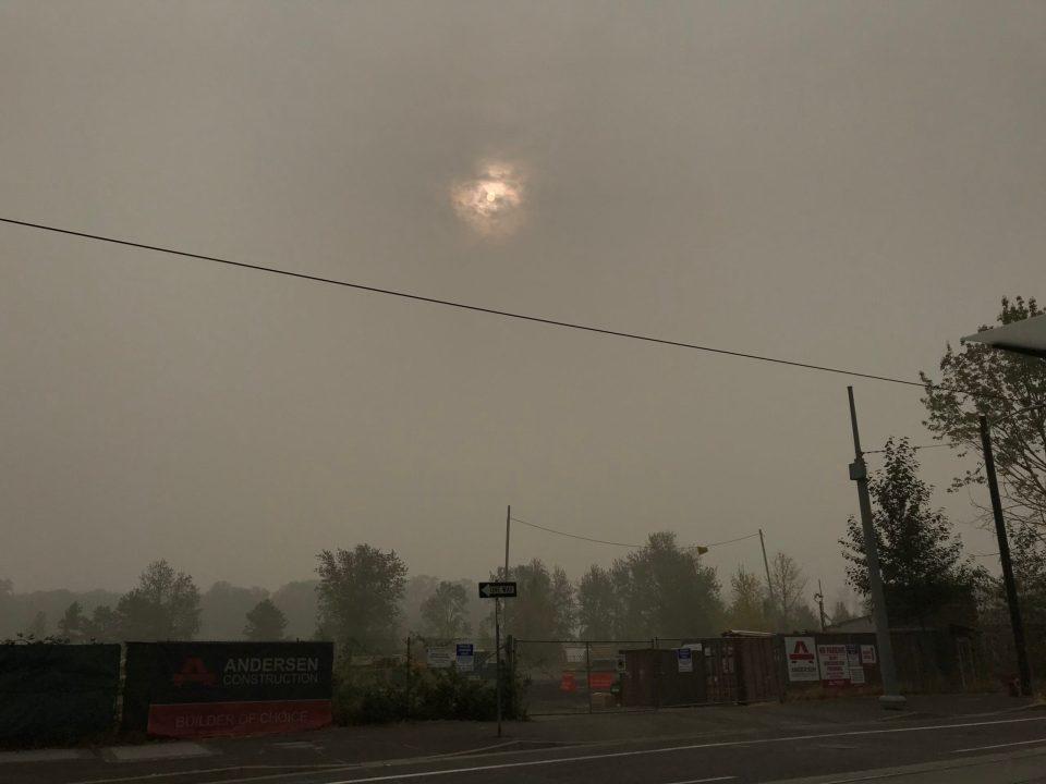 Photo of hazy skies in Portland.