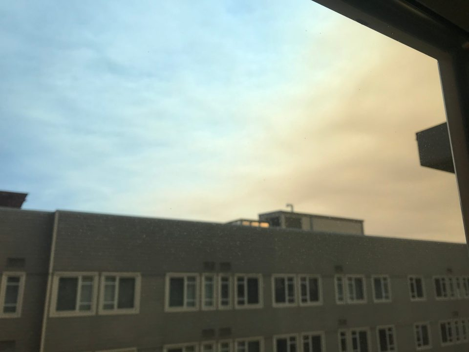 Photo showing a clear sky becoming smokey.
