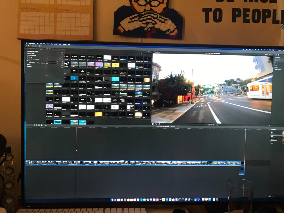Photo of a BIKETOWN ride being edited in Final Cut Pro.