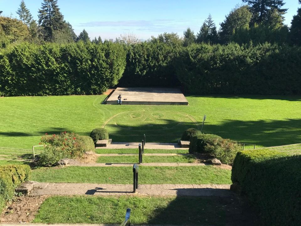 Photo of grass cut in a pumpkin shape at the International Rose Test Garden.
