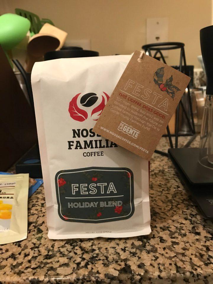 Photo of a bag of Nossa Familia's Festa coffee.