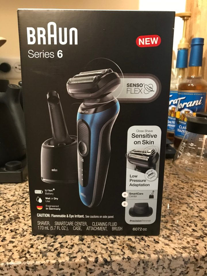 Photo of packaging for a Braun Series 6 electric shaver.