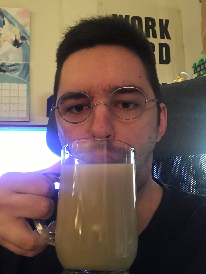 Selfie of drinking tea.