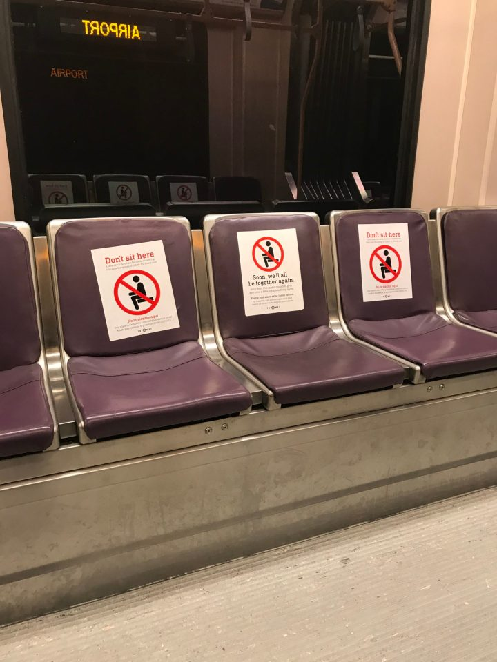 Photo of social distancing signage on a TriMet MAX Type 2 car.