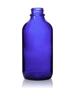 4 oz Boston Round Cobalt Blue Glass Bottle with 22-400 Neck Finish