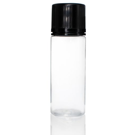 120 ml PET Clear Signature Wolf Bottle with Black Flat Cap and Pre-Inserted Tip