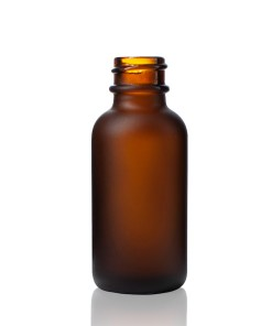 1 oz Boston Round Glass Frosted Amber Bottle with 20-400 Neck Finish