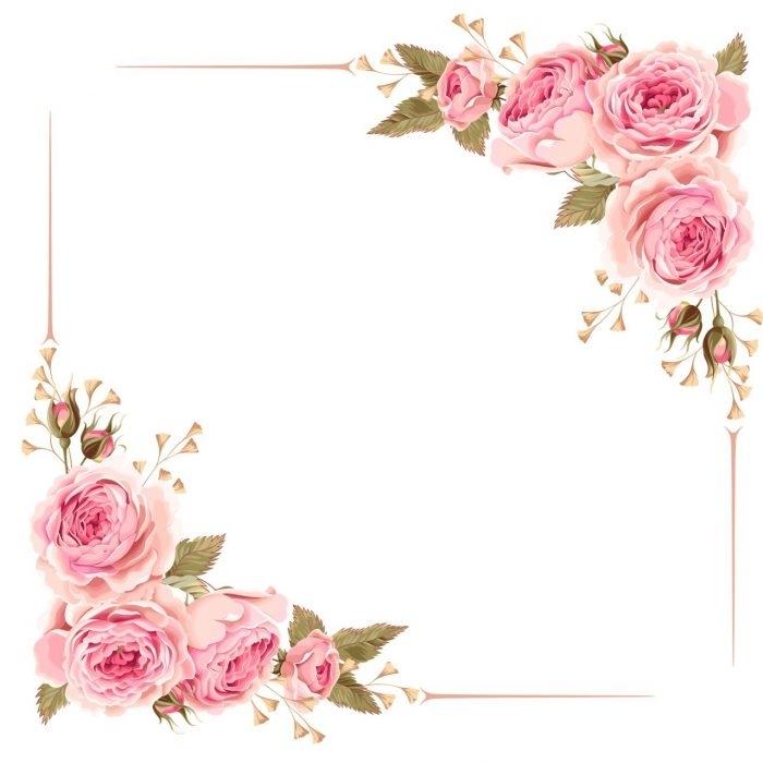 Mint Flower Corner Border Clip Art