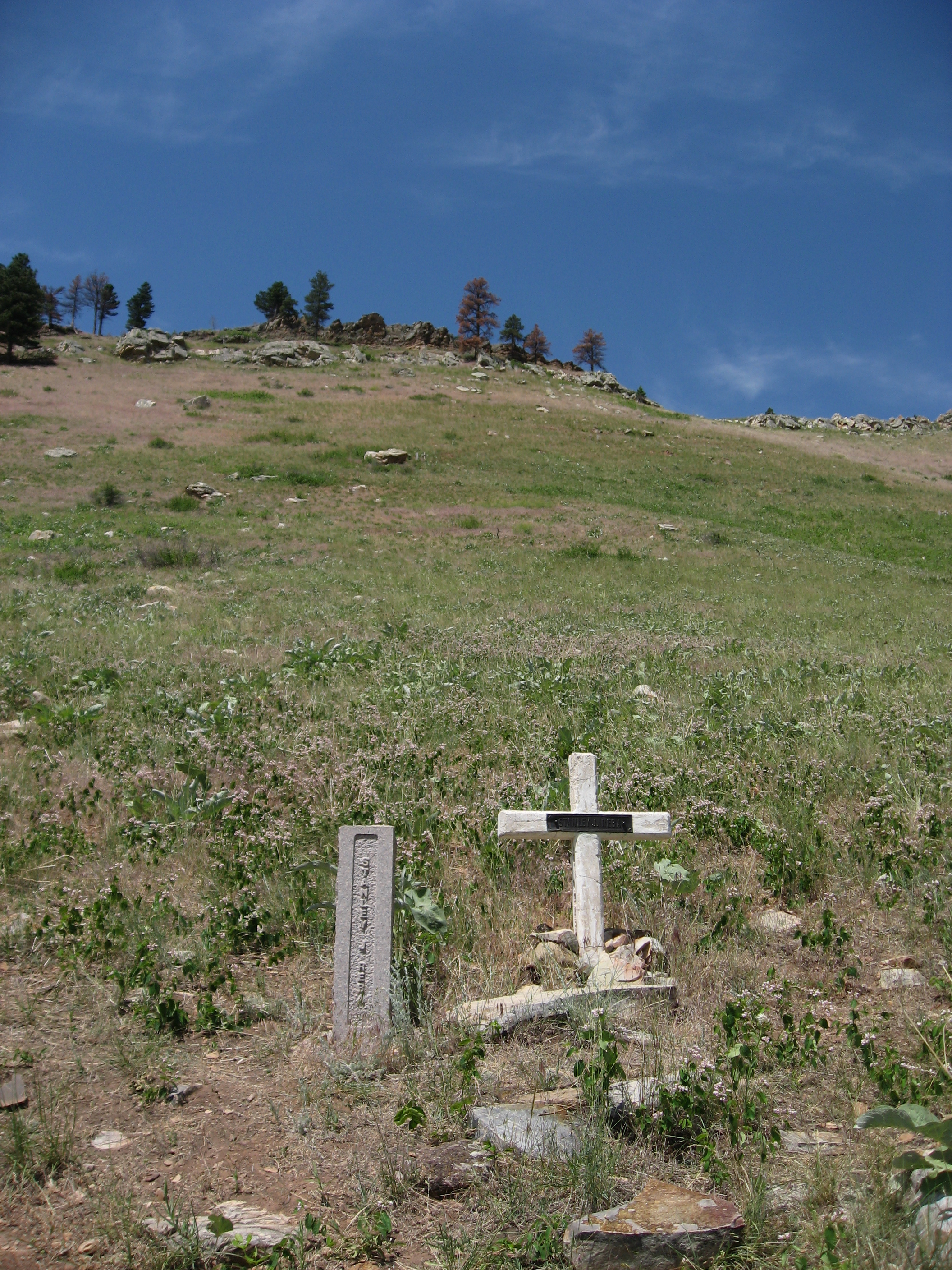 The view from where Stanley Reba died, looking up toward where Sallee and Rumsey went through the rocks to safety.