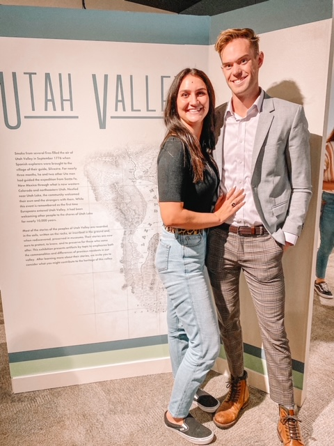 nnah Smith poses with Hayden Crofts at the Utah Valley Exhibit. Smith played a major role in the research, text, and design for the exhibit. (Hannah Smith)