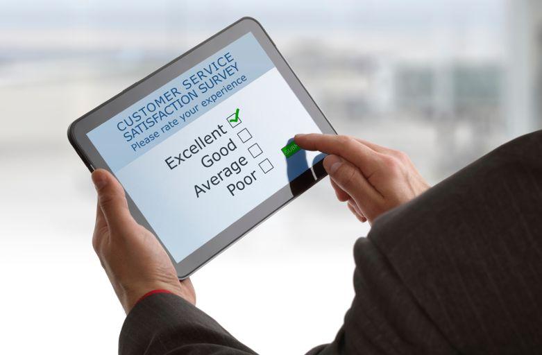 Survey questionnaire service satisfaction survey on a digital tablet