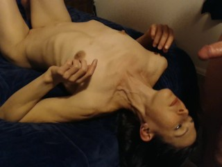 Homemade stepmom wife sucking cock on the bed swallowing a mouthful of cum