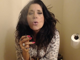 MOM PEES and smokes in lavatory