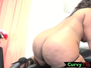 Bootylicious trans chick spreads her legs