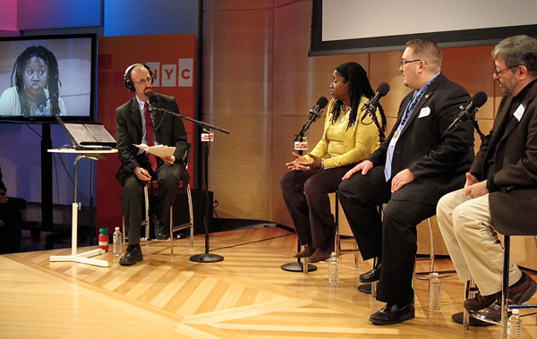 Stacey Cumberbatch, coordinator at the NYC 2010 Census Office, answers a question from Brian Lehrer - Photo: Jocelyn Gonzales
