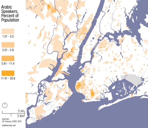 Map of Arabic Speakers in NYC According to 2000 Census Data - Map: Neil Freeman