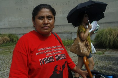 Maria Garcia at immigration rally in New York on July 29, 2010 - Photo: Sarah Kramer