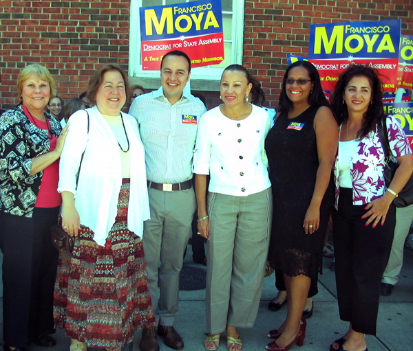 Francisco Moya with (from left) Joan Millman, Liz Krueger, Nydia Velasquez, Julissa Ferreras, and Diane Savino